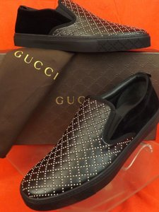 Gucci Mens Gucci Black Studded Leather Suede Slip On Sneakers 10.5 11.5
