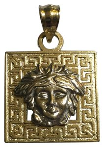 Other 14k YG/WG Medusa Image Greek Key Square Shaped Pendant Versace-Style
