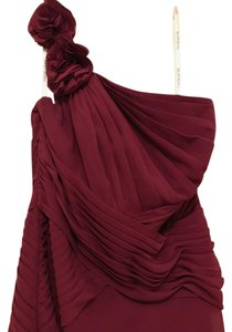 David's Bridal Bridesmaid Long Burgundy Chiffon Flower Dress