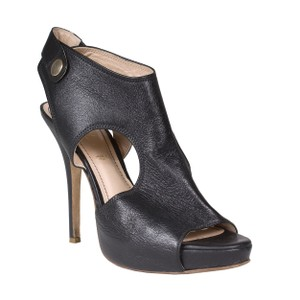 Jerome C. Rousseau Leather Snap Black Pumps