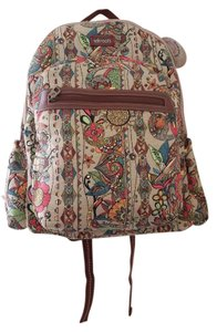 Sakroots Bright Canvas Print Faux Leather Polyester Backpack