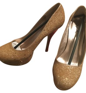 Qupid Champagne Glitter Pumps