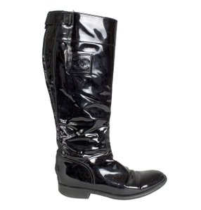Chanel Patent Knee High Black Boots