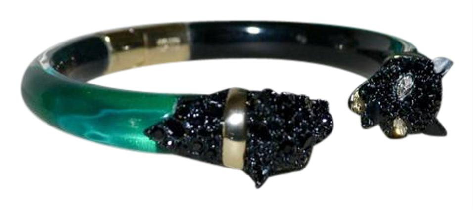 Alexis Bittar Panther Crystal Chain Hinged Lucite Bracelet Green