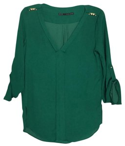 Zara Long Sleeve V-neck Work Top Green