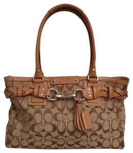 Coach Handbag Signature Logo Canvas Tote Leather Satchel in Beige Brown