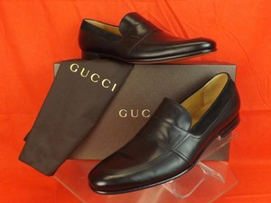 Gucci Mens Black Betis Glamour Leather Suede Script Logo Loafers 8 9