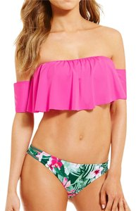 GB off shoulder top + tropical print bottom