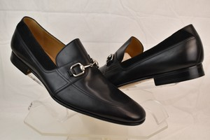 Gucci Black Horsebit Betis Glamour Leather Suede Silver Loafers 14.5 368444 Shoes