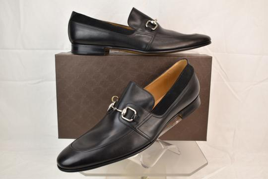 Gucci Black Horsebit Betis Glamour Leather Suede Silver Loafers 14.5 368444 Shoes Image 1