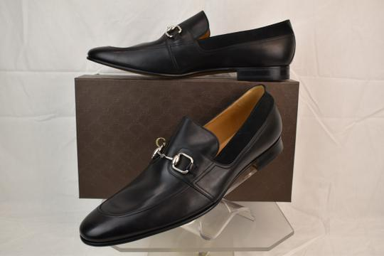 Gucci Black Horsebit Betis Glamour Leather Suede Silver Loafers 14.5 368444 Shoes Image 2