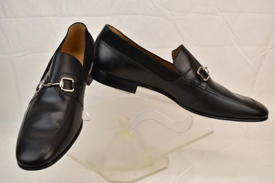 Gucci Black Horsebit Betis Glamour Leather Suede Silver Loafers 14.5 368444 Shoes Image 5