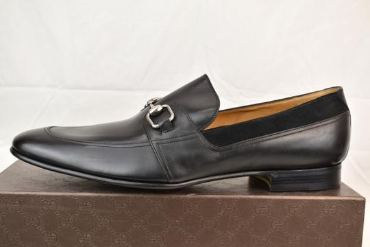 Gucci Black Horsebit Betis Glamour Leather Suede Silver Loafers 14.5 368444 Shoes Image 6