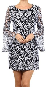 J-Mode short dress Black White Lace Bell Sleeves Shift Black & White Vintage Style on Tradesy