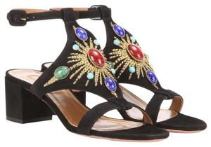 Aquazzura Suede Hold Embroidery Stones Black Sandals