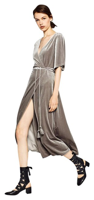 Item - Grey Silver Crossover Long Night Out Dress Size 4 (S)