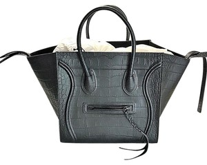 Céline Phantom Travel Crocodile Tote in Black