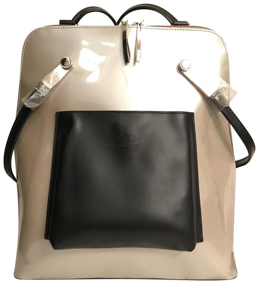 a9859d9942 Beijo New Vegan Silver Black Faux Leather Backpack - Tradesy