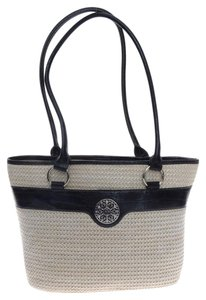Giani Bernini Filigree Tote in Straw with Black Accents