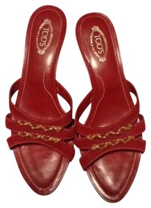 Tod's Suede Leather Red Sandals
