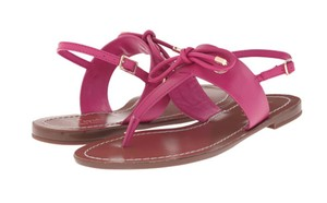 Kate Spade Bow Decoration Tumbled Leather deep pink vachetta Sandals