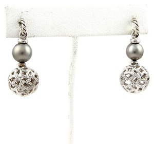 David Yurman #11137 Diamonds & Tahitian Pearl Dangle Earrings