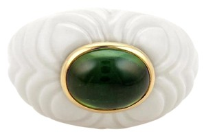BVLGARI Bulgari CHANDRA 2.5ct Tourmaline 18k Gold & Ceramic Dome Ring Size 6