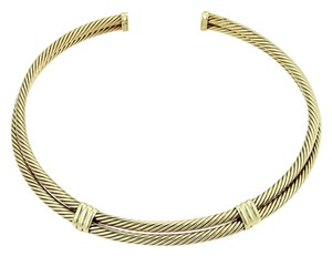 David Yurman Classic Double Cable Wire 14k Gold Choker Necklace