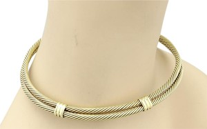 David Yurman #15112 Classic Double Cable Wire Choker Necklace in 14k Yellow Gold