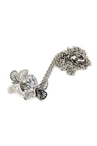 Ocean Fashion Pretty butterfly crystal silver necklace