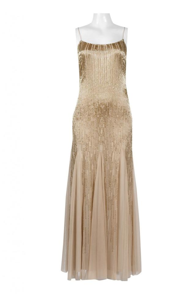 Adrianna Papell Gold Champagne Spaghetti Strap Ombre Beaded Gown ...
