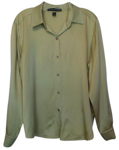 Ellen Tracy Silk Oversized Large Excellent Condition Top Yellow Green