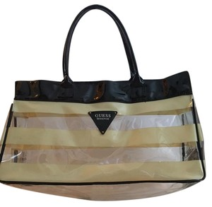 Guess Pvc Large Beach & Overnight Tote in Gold & Black on Clear