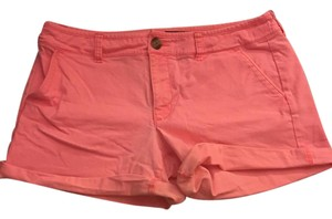 American Eagle Outfitters Neon Midi Cuffed Shorts Pink