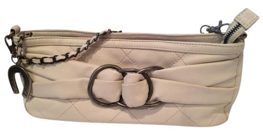 Betsey Johnson Leather Studded Motorcycle Leather White Clutch