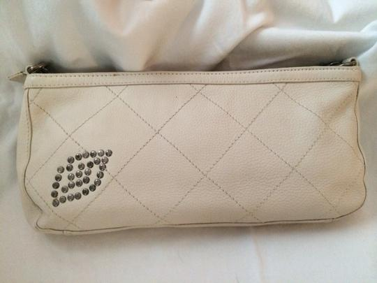 Betsey Johnson Leather Studded Motorcycle Leather White Clutch Image 2