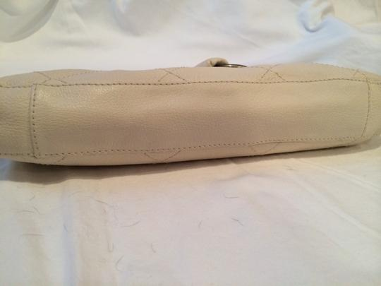 Betsey Johnson Leather Studded Motorcycle Leather White Clutch Image 3