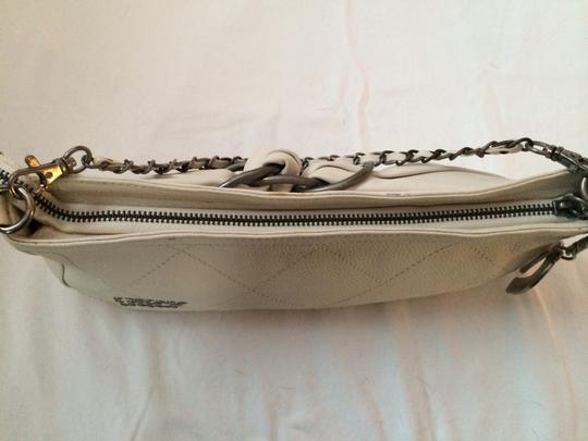 Betsey Johnson Leather Studded Motorcycle Leather White Clutch Image 6