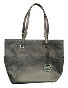 Michael Kors Zippered Top Silver Hardware Silver Feet Tote in black