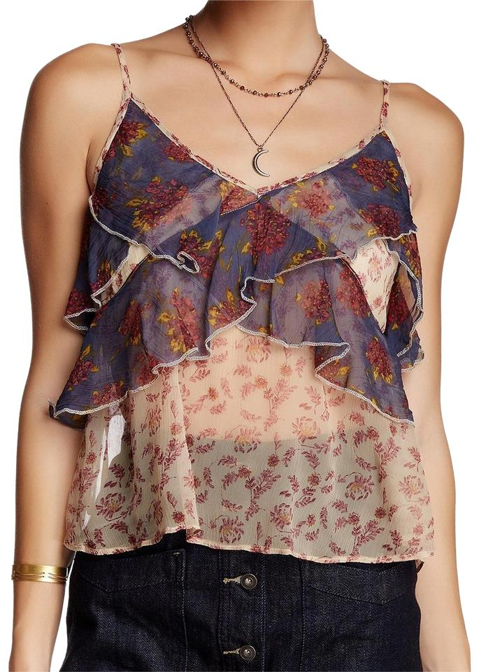 229e9fa8 Free People Beige Floral Ruffle All Things Crinkle Chiffon M Tank Top/Cami.  Size: 8 ...