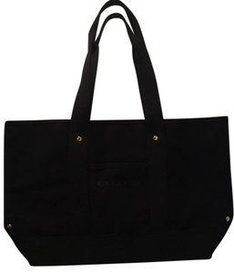 Coach 100% Cotton Goldtone Tote in Black with gold metals