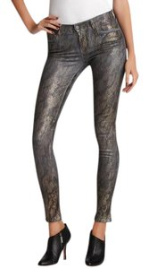 J Brand Coated Skinny Python Print Metallic Skinny Jeans-Coated