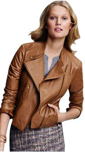 Ann Taylor Motorcycle Moto Calf Leather Brown Tan Camel Leather Jacket