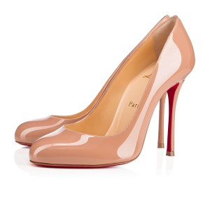 Christian Louboutin Fifetish 100mm Patent Leather Beige Pumps