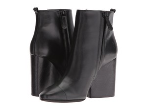 Tory Burch Wedge Etched Grove Calfskin Black Boots