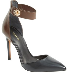 Coach Leather Buckle Ankle Strap brown and black Pumps