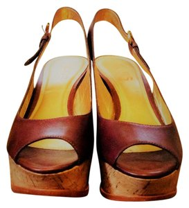 Michael Kors Wedges Espadrille Platforms Brown Leather Sandals