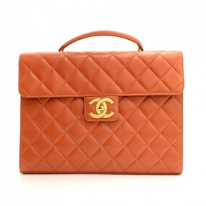 Chanel Quilted Leather Document Briefcase Hobo Bag