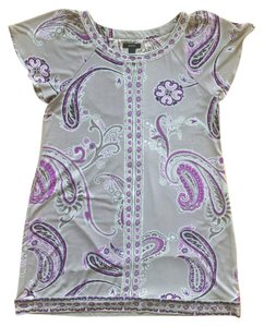 Alfani short dress Gray and Purple Paisley Tunic Beading Floral Pattern on Tradesy