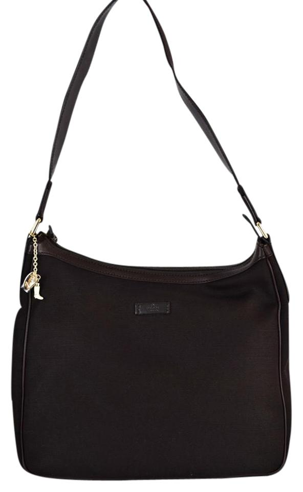 225c8440846 Gucci 264219 Boots Charm Handbag Brown Canvas with Leather Trim ...